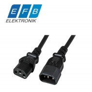Extension Cable C14 180° - C13 180°, black, 2.0 m, 3 x 0.75 mm²
