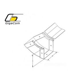 Cot vertical interior (urcare) 45° 50mm galben Solutii Management Cabluri