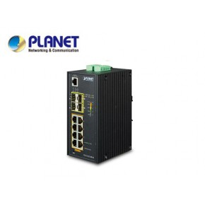IP30 Industrial L2+/L4 8-Port 1000T 802.3at PoE+ 4-port 100/1000X SFP Full Managed Switch (-40 to 75 C, dual redundant power input on 48~56VDC terminal block, DIDO, ERPS Ring Supported, 1588) Echipamente Active