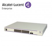 Alcatel-Lucent OmniSwitch 6450 24 porturi 10/100/1000 BaseT, 2 fixed SFP+ 1G/10G ports, 1 expansion slot. 10G uplink speed enabled by default.
