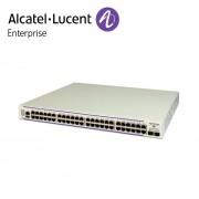Alcatel-Lucent OmniSwitch 6450 48 porturi PoE 10/100/1000BaseT, 2 fixed SFP+ 1G/10G ports, 1 expansion slot. 10G uplink speed enabled.