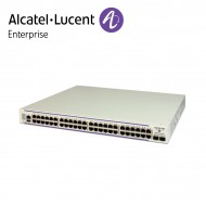 Alcatel-Lucent OmniSwitch 6450 48 porturi PoE 10/100/1000BaseT, 2 fixed SFP+ 1G/10G ports, 1 expansion slot. 10G uplink speed enabled.