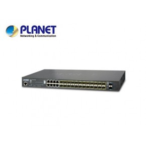 IPv6 L2+/L4 24-Port 100/1000X SFP with 8 Shared TP + 2-Port 10G SFP+ Managed stackable Switch, W/ 48V Redundant Power, trunking stack up to 16 units Echipamente Active